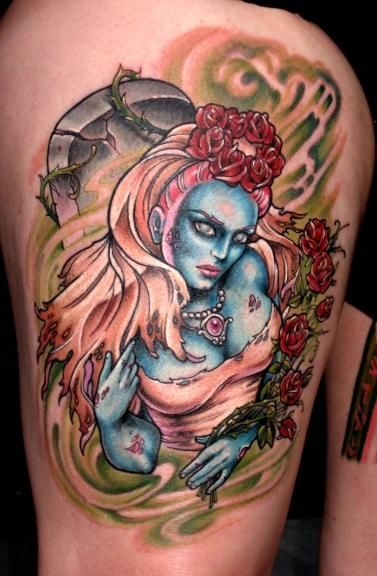 zombie bride tattoo by Hannah Aitchison. Her wrk is so amazing, it's why I want a pinup tattoo!