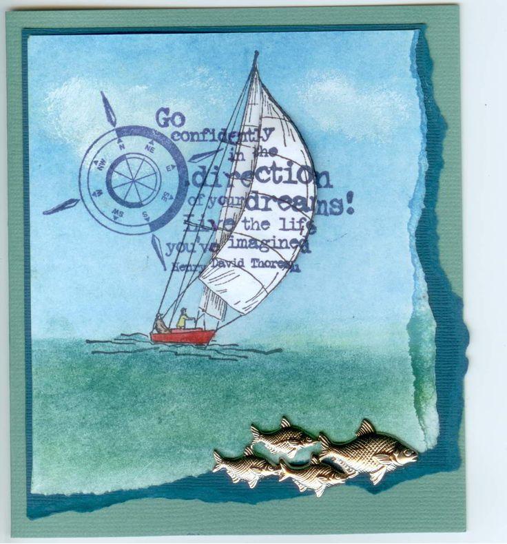 Wind & Sails 4619E, Go Confidently 3839E: Stamp-it Australia. Card by Susan of Art Attic Studio