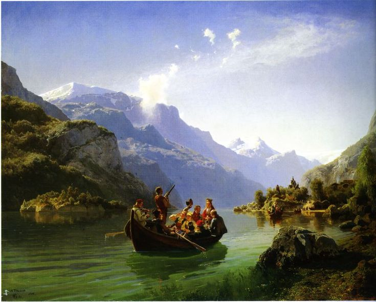 Artist: Adolph Tidemand (Norway 1814–1876) and Hans Gude (Norway 1825-1903)  Title: Brudeferden i Hardanger (Bridal journey in Hardanger)  Year: 1848