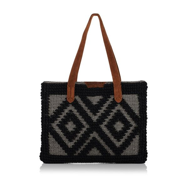 Superdry Masai Tote Bag (80 CAD) ❤ liked on Polyvore featuring bags, handbags, tote bags, black, zip tote, handbags totes, snap purse, tote purses and zip tote bag