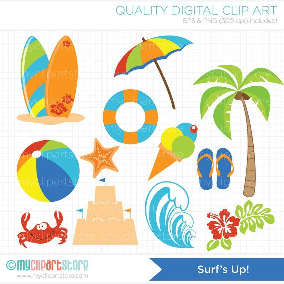 Surfs Up / Surfing Clip Art / Digital Clipart by MyClipArtStore, $3.99