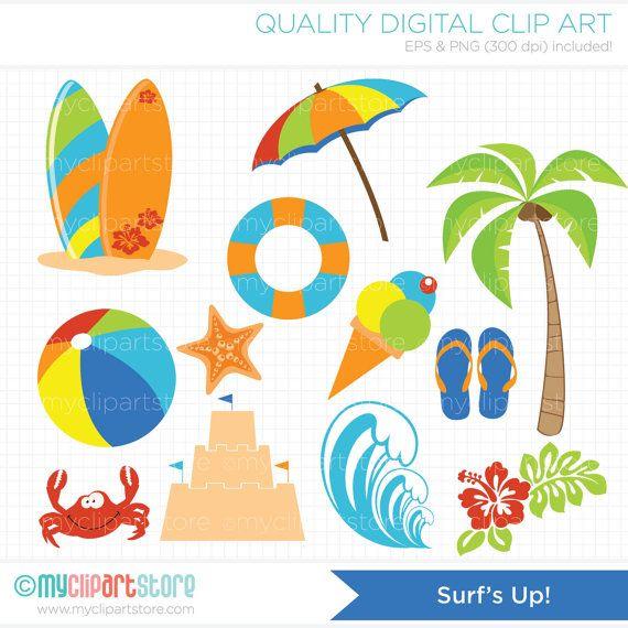 Surfs Up / Surfing Clip Art / Digital Clipart  by MyClipArtStore, $3.99