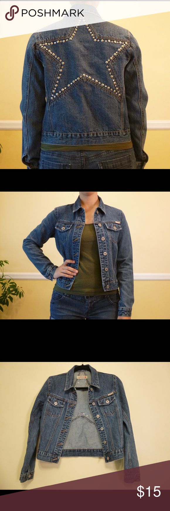 Buffalo jeans star studded denim jacket Buffalo jeans denim jacket with star on the back made put of metal studs. Size small 100% cotton. Used but in perfect condition Buffalo Jackets & Coats Jean Jackets