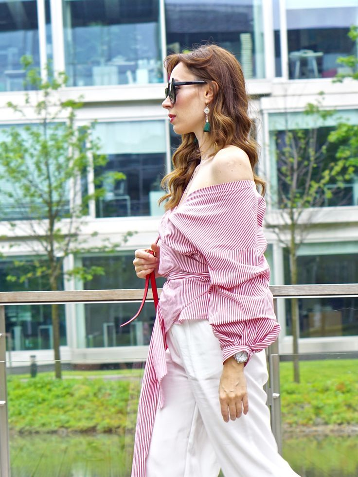 Wraped, white-red Striped blouse Zara, white culottes, one shoulder, wavy hair. Classy, elegant, streetstyle
