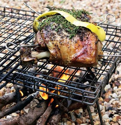 Remove our slow-roasted barbeque-infused lamb from the grill and allow it to rest for 20 minutes before carving.