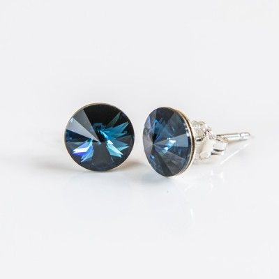 Swarovski Rivoli Earrings 8mm Montana  Dimensions: length:1,5cm stone size: 8mm Weight ~ 1,15g ( 1 pair ) Metal : sterling silver ( AG-925) Stones: Swarovski Elements 1122 SS39 ( 1122 8mm ) Colour: Montana 1 package = 1 pair Price 9.90 PLN( about`2,5 EUR)
