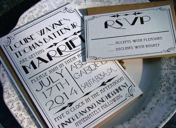 Art Deco Wedding Invitations: Great Art Deco Hollywood, a deposit to begin. $100.00, via Etsy.