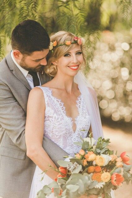 Stunning Jasmine on her wedding day, wearing a custom Corston Couture Gown. #corstoncouture #corston #realbride #countrywedding #flowercrown #orange #lace #sydneybridaldesigner #bridaldesigner #couture
