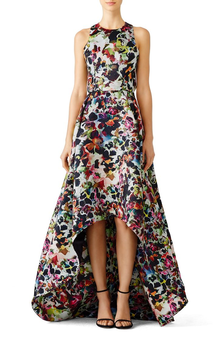 Rent Multi Floral High Low Gown by ML Monique Lhuillier for $105 only at Rent the Runway.