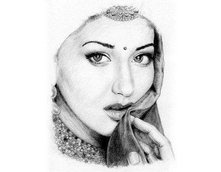 A very taditional Sonali Bendre pencil sketch.