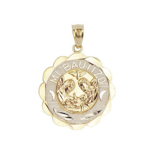 14k Tricolor Gold, Mi Bautizo Baptism Christening Medal Pendant Religious Charm Round 19mm (P012-037)