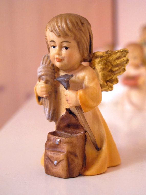 Wooden angel with robe by WoodcarvingsDemiArt on Etsy   Handmade angels for Decoration or Gift Idea! Guardian Angel/Christmas Angel..