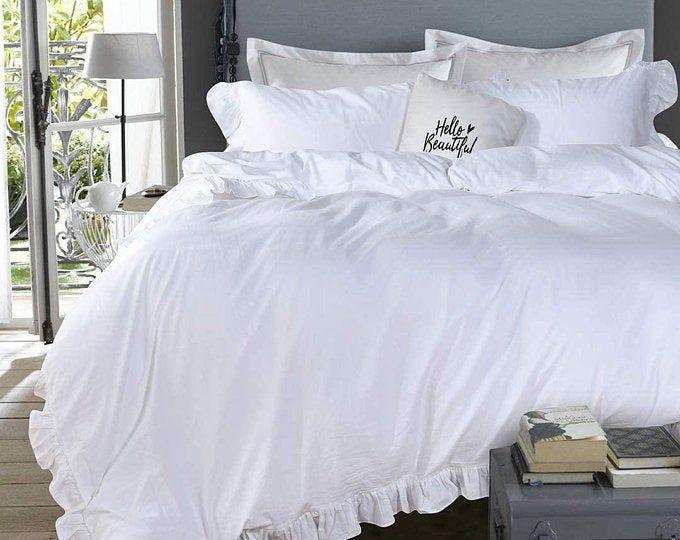 White Bedding Offwhite Ruffle Duvet Cover Set Ruffled Design White Bedding Sets Queen 1 Ruffled Duvet Cover 2 Pillow Shams Queen White In 2021 Elegant Duvet Covers Ruffle Duvet Ruffle Duvet Cover