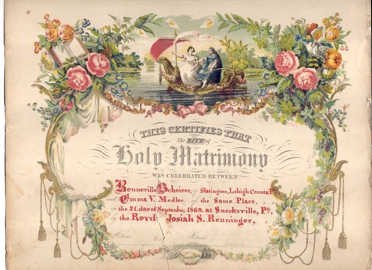 Vintage Marriage Certificate Washoe County Nevada: 1869 Marriage Certificate