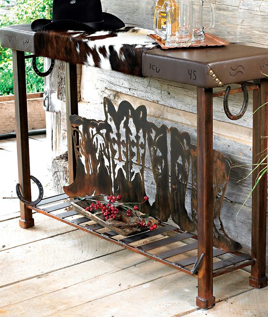 Boot Table With Cowhide, Cowboy Decor