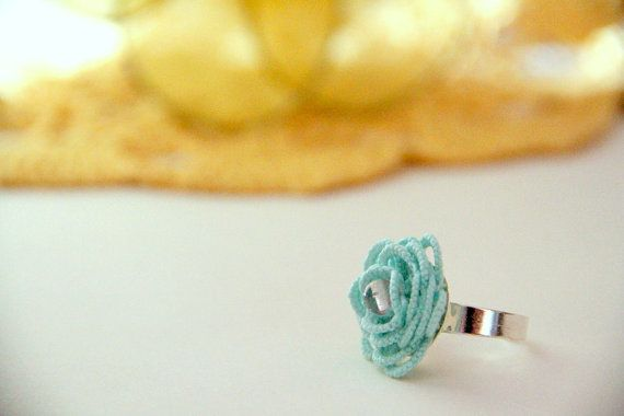 mint and pink ring, floral, summer ring, cocktail ring, handmade tatting lace