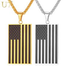 US Flag Necklaces & Pendants Gold Plated Stainless Steel USA American Chain For Men/Women
