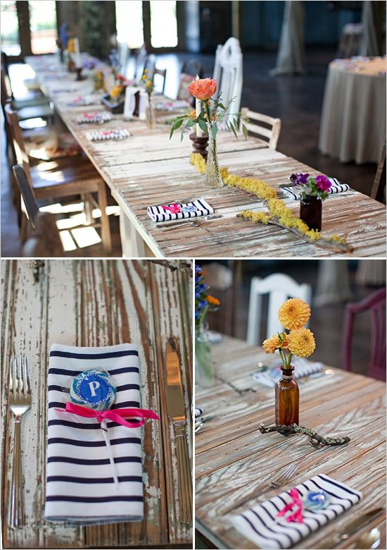rustic table decor with striped napkins