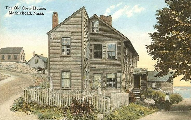 Spite Homes| The Old Spite House in Marblehead, Massachusetts, constructed in 1715 by Robert Wood for the Graves brothers, who were quarreling fishermen (1912 postcard) (via Wikimedia) ...