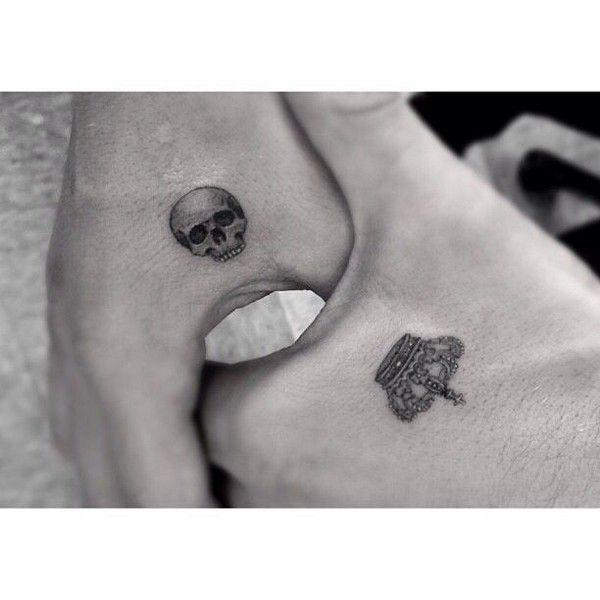 Small Tattoo Skull and Crown tattoo Hand Tattoos Pinterest