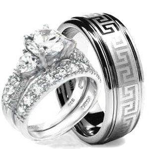wedding ring set his hers 3 pieces hearts 925 sterling silver tungsten - Cheap Camo Wedding Rings