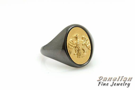 Man Signet Ring 14k Gold Seal Black Man Ring Black Rhodium