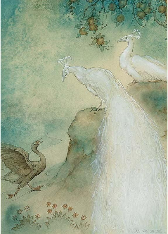 The story of the goose peacock and peahen - 1001 Nights - Anton Pieck