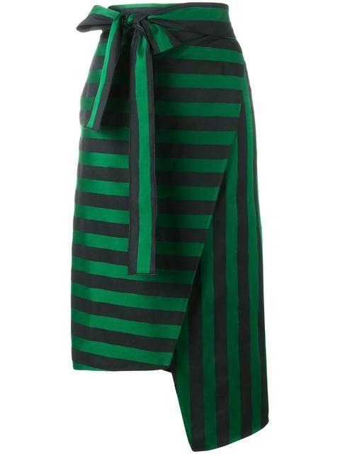 Shop Rochas stripe asymmetric skirt.