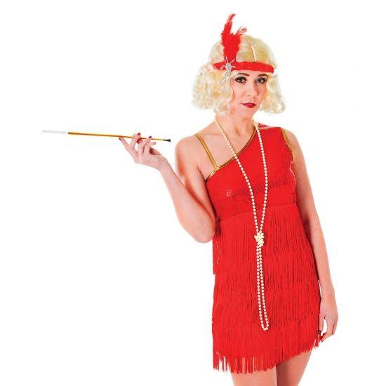 Jaren 20 glamour jurk rood. Voordelige robijn rode roaring twenties jurk voor dames. Exclusief accessoires.