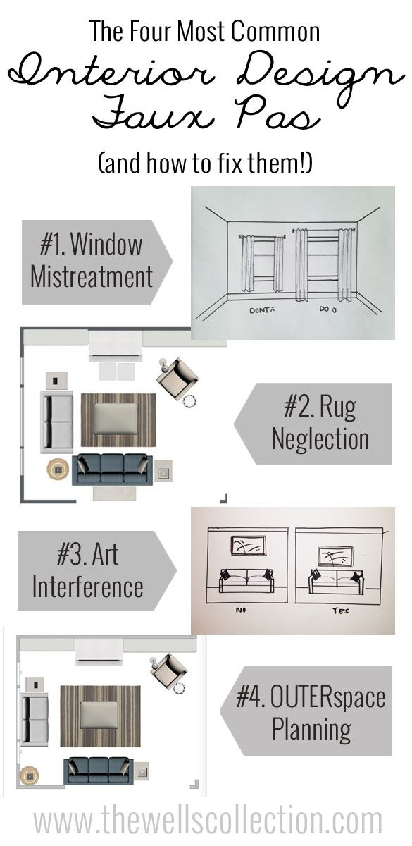 The four biggest interior design faux pas! Tips for decorating your home the right way. Make your windows look larger with this tip.
