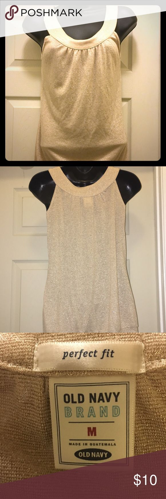 Old navy medium gold tang top Gold glittery tang top nice for a night out size medium Old Navy Tops Tank Tops