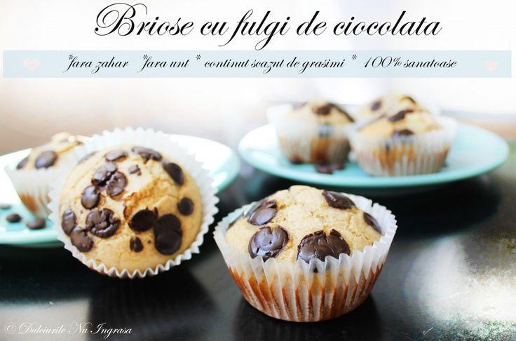Briose cu Fulgi de Ciocolata (fara zahar, fara unt, continut scazut de grasimi, 100% sanatoase)