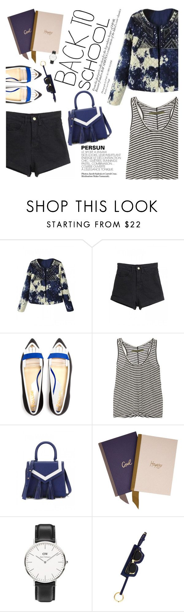 """""""back to school"""" by punnky ❤ liked on Polyvore featuring Pollini, Enza Costa, Lanvin, Daniel Wellington and Marni"""