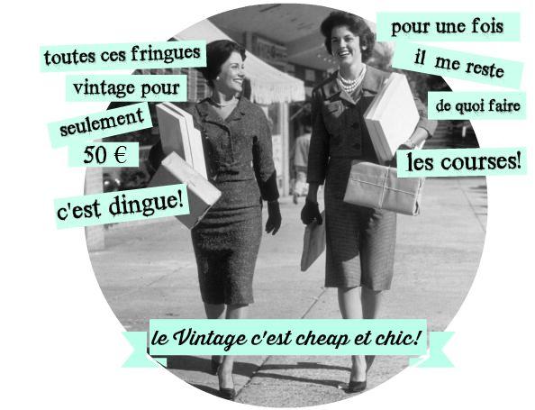 Le vintage c'est cheap et chic. Toutes ces fringues vintage pour seulement 50 € c'est dingue! Pour une fois il me reste de quoi faire les courses. Humour vintage, photo magazine Life détournée