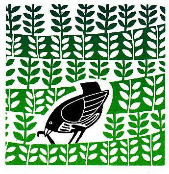 Stylised bird in field