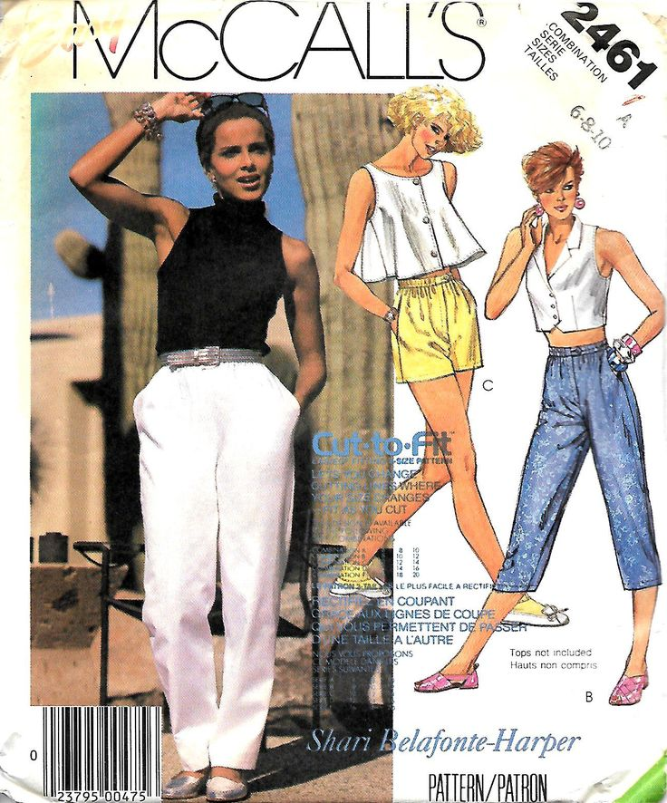 McCall's 2461 Shari Belafonte-Harper Pants And Shorts Pattern, Size 6-8-10, UNCUT by DawnsDesignBoutique on Etsy