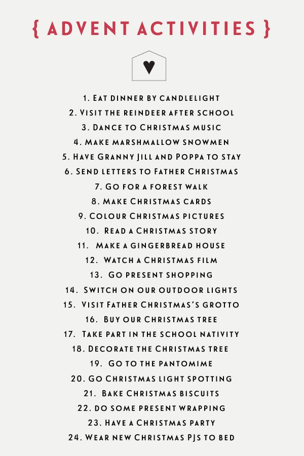 Following on from my homemade Advent calendar earlier this week, I wanted to share our list of Advent activities for December. We don't have a chocolate or gift calendar, instead each day has its o... Christmas