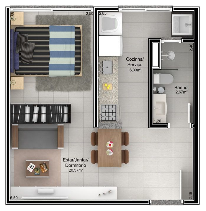 Resultado de imagem para plantas de apartamentos studio
