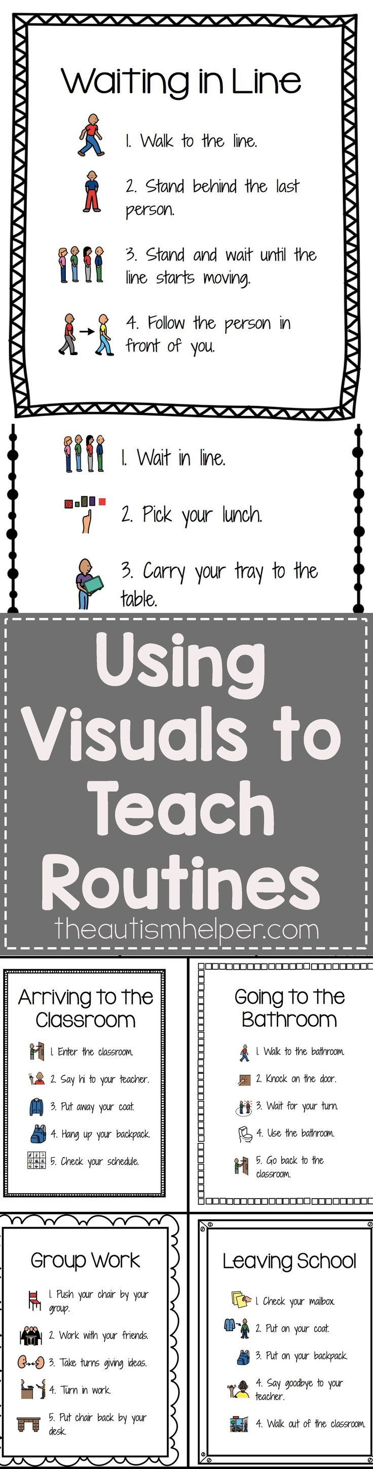 Check out our Visuals for Common Classroom Routines - It's editable (!!!) & includes 25 pre-made sets of visual step by step routines! From theautismhelper.com #theautismhelper