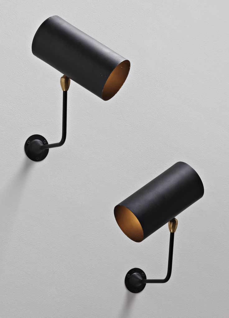 Serge Mouille, Tuyaux Wall Lightss for Atelier Serge Mouille, c.1955. Painted aluminium, brass and painted steel. / Phillips