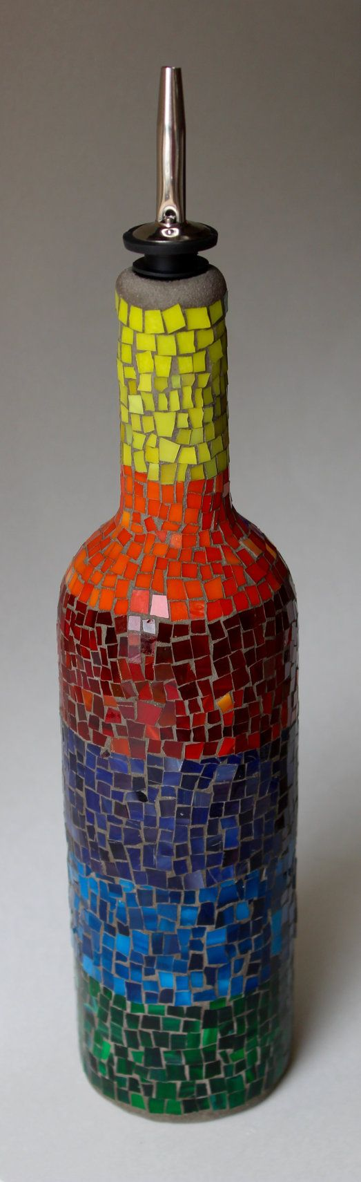 Rainbow mosaic bottle by MasterpieceGlass on Etsy