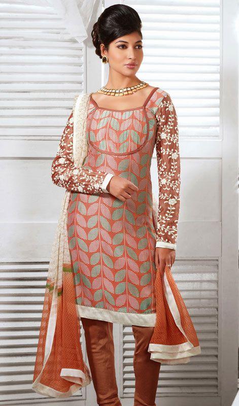 Brown and Tomato Cotton Silk Churidar Suit Price: Usa Dollar $108, British UK Pound £64, Euro80, Canada CA$117 , Indian Rs5832.