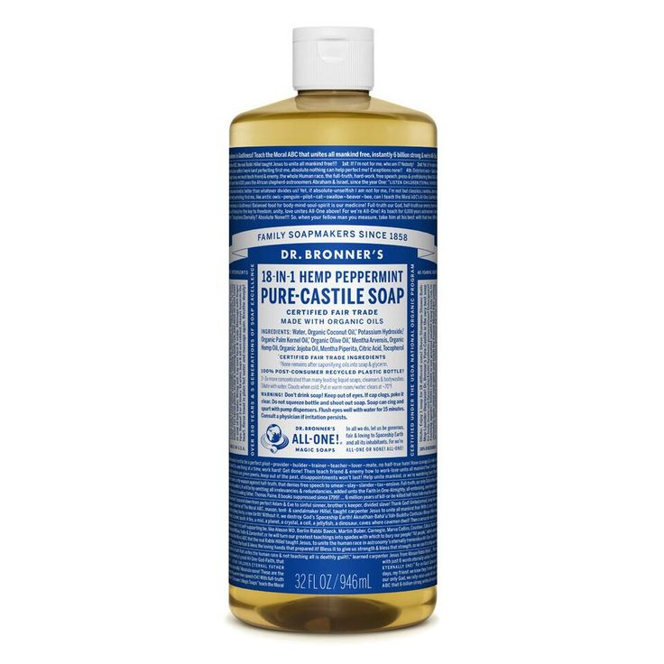 DR. BRONNER'S Pure Castile Liquid Soap - Peppermint With added Organic Peppermint oil this soap cools the skin, clears sinuses & sharpens the mind.  Made with organic and certified fair trade ingredients. Dr. Bronner's 18-in-1 Pure-Castile Soaps are good for just about any cleaning task. Face, body, hair, food, dishes, laundry, mopping, pets – clean your house and body.  NO SYNTHETIC PRESERVATIVES, NO DETERGENTS, NO FOAMING AGENTS - NONE!!!