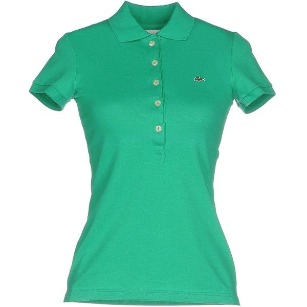 Lacoste Polo Shirt (4.395 RUB) ❤ liked on Polyvore featuring tops, emerald green, short sleeve polo shirts, polo shirts, logo top, short sleeve tops and green polo shirts