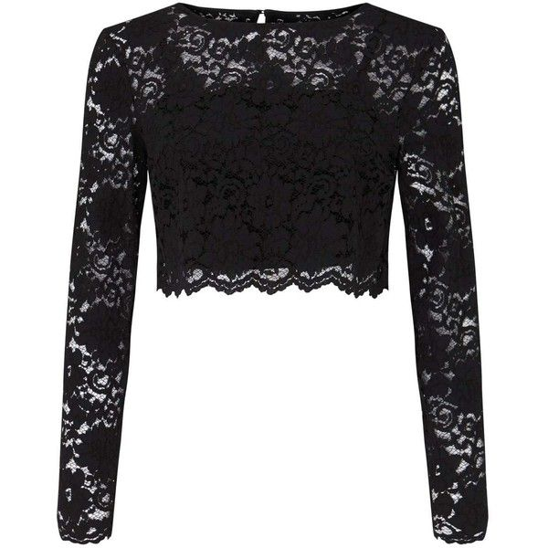 Miss Selfridge Black Lace Top ($61) ❤ liked on Polyvore featuring tops, black, crop top, lacy tops, lace tops, long sleeve crop top and miss selfridge