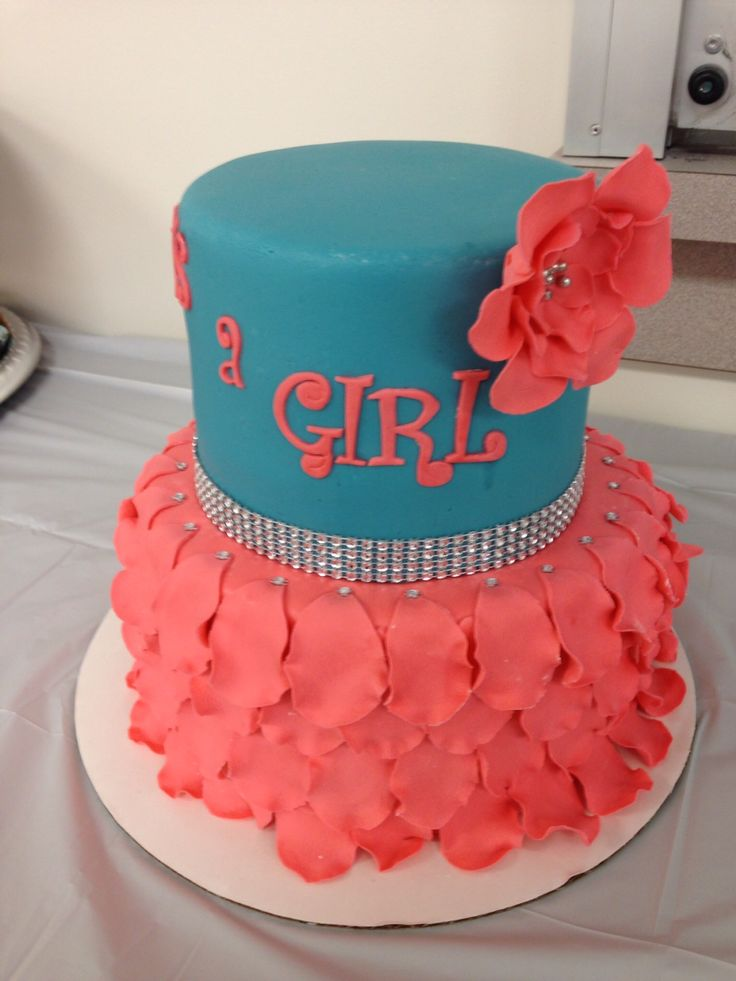 Coral and turquoise fondant petal baby shower cake with bling