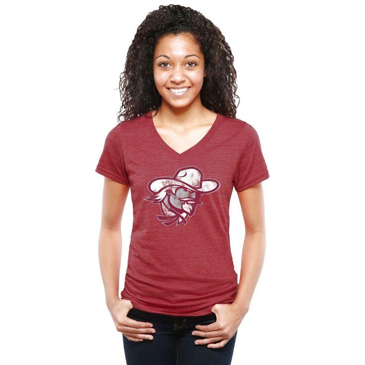 Eastern Kentucky Colonels Women's Classic Primary Tri-Blend V-Neck T-Shirt - Garnet - $34.99