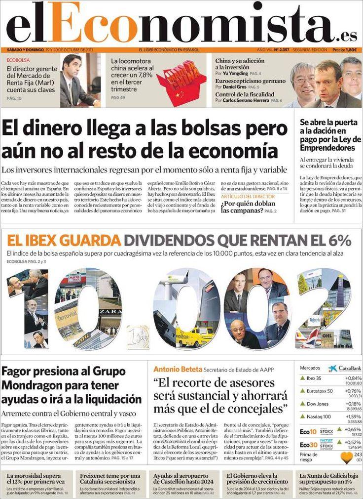 Los Titulares y Portadas de Noticias Destacadas Españolas del 19 de Octubre de 2013 del Diario El Economista ¿Que le pareció esta Portada de este Diario Español?
