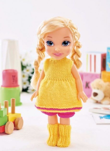 Easy Dolls Clothes Free Knitting Pattern 14 Inch Doll Pinterest