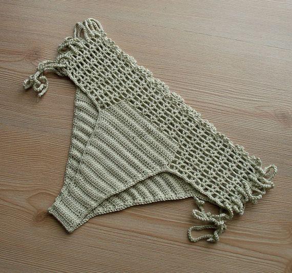 Full Coverage Crochet Beige Bikini Bottom, Women Bikini Bottom, Swimwear, Swimsuit, 2107 Summer Trends  #Beachwear, #Bikini, #Crochet, #Swimwear  Womens 2017 Fashion #bikini #swimsuit #swimwear #beachwear #bikinitop #summertop #crochetbikini Ladies #handm